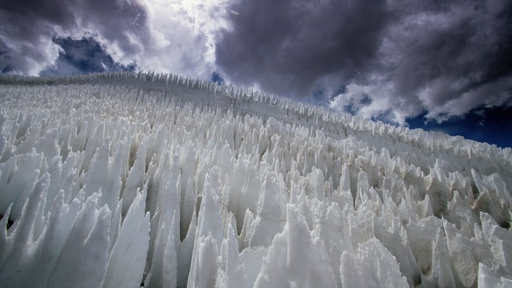 Penitentes, pillars of compacted snow, in Chile