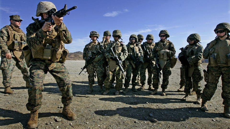 Female marines train for Afghanistan.