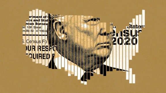 Art of Donald Trump superimposed on a census form.