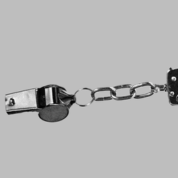 Whistle chained to a handcuff