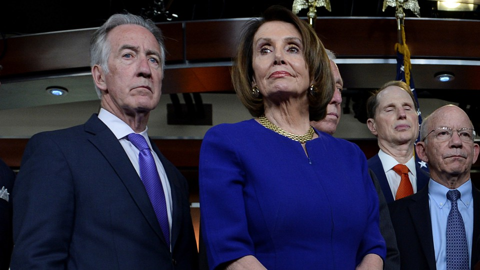 House Speaker Nancy Pelosi, House Ways and Means Committee Chairman Richard Neal, and other Democratic lawmakers address a Capitol Hill news conference on May 22.
