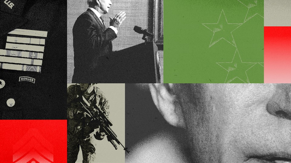 Artistic collage of photos of Joe Biden and American soldiers
