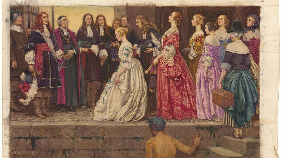 Several young women being received by noblemen