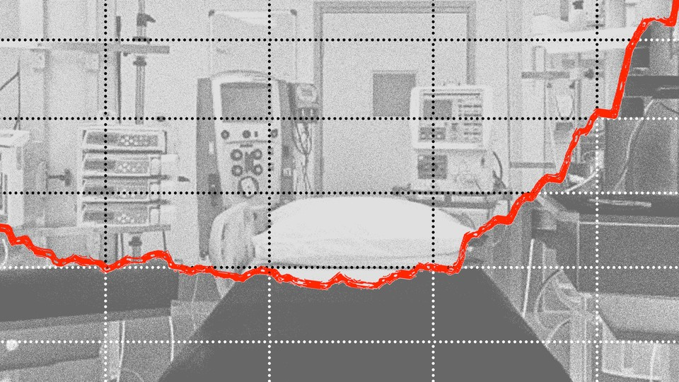 A photo of a hospital bed with a graph superimposed, and a red line trending upwards