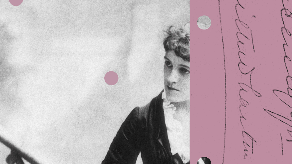A photo illustration of Edith Wharton overlaid with handwriting