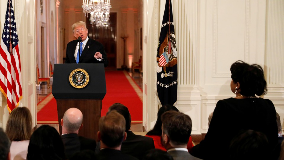 President Trump at a White House news conference