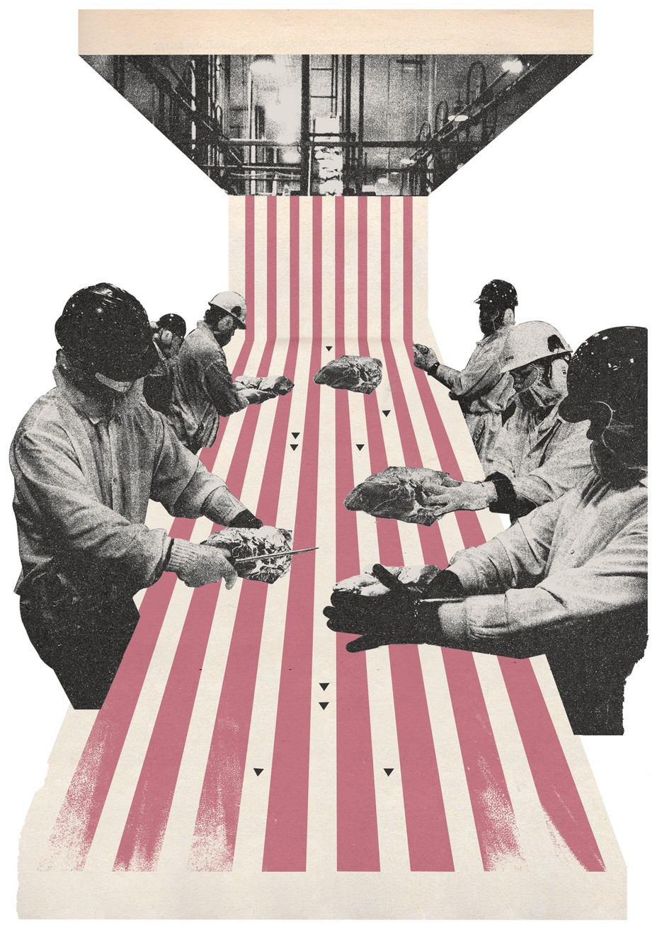 Workers handling meat along an illustrated conveyor belt