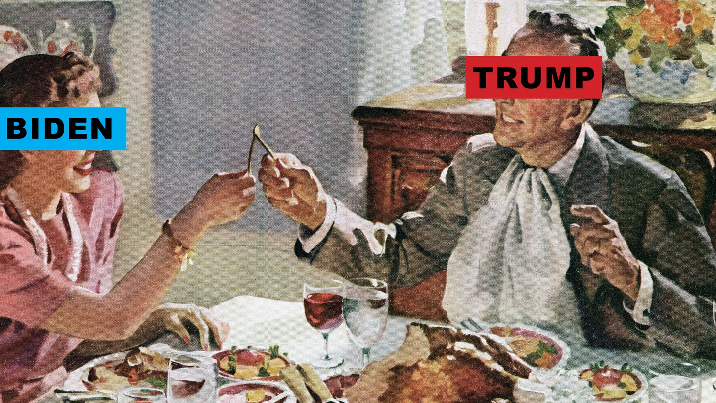 """An illustration of a couple pulling at a wishbone, with """"Trump"""" and """"Biden"""" labels over their eyes"""
