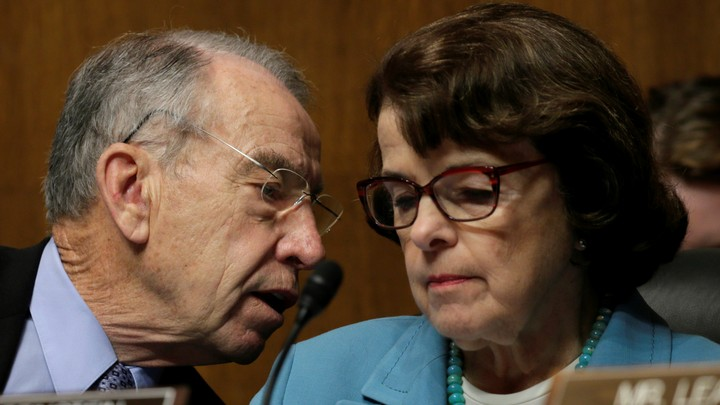 Senators Chuck Grassley and Dianne Feinstein, the leaders of the Senate Judiciary Committee, meet in May.