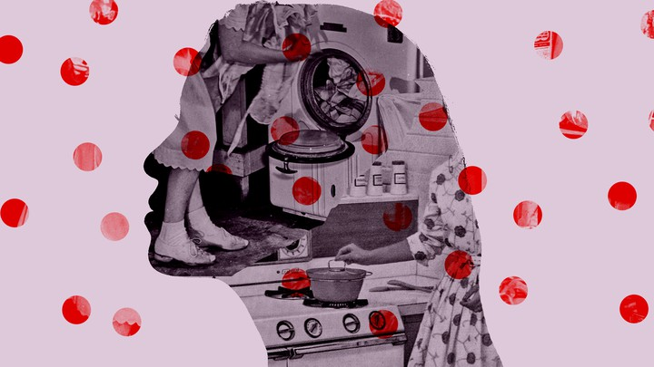 A silhouette of a woman collaged onto a pink background with red polka dots, and a 1950s image of a girl doing laundry against the sllhouette