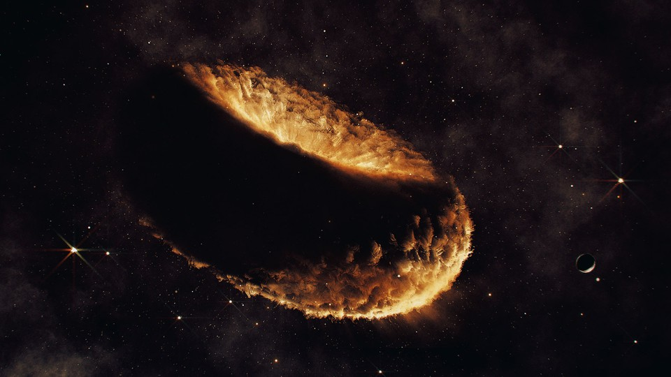 An artist's impression of a synestia, a hypothetical object made of vaporized rock that might have birthed the moon