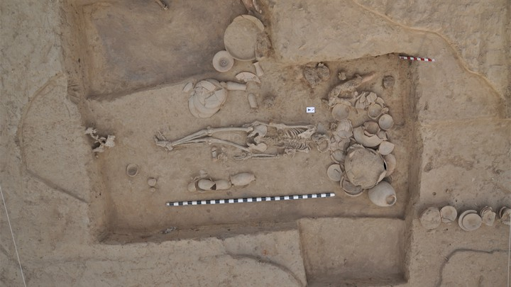 A burial site being excavated