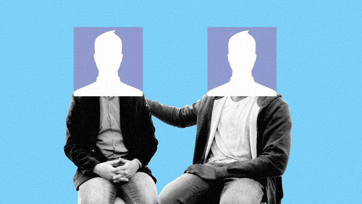 Two seated figures with heads that are the square Facebook default picture