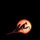 A silhouette of a praying mantis