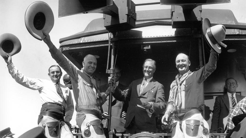 Franklin Delano Roosevelt campaigning in 1932