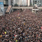 A crowd of demonstrators in Hong Kong over the extradition bill