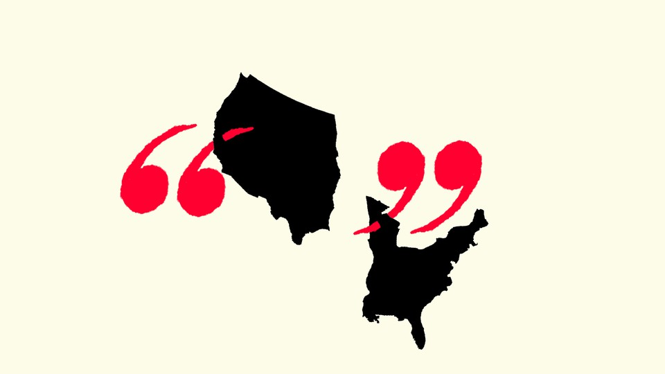 An illustration of quotation marks and the United States split in two.
