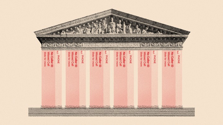 An illustration of the Supreme Court with pillars made of missed-call logs