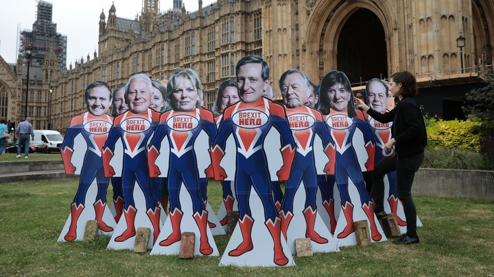Cardboard cutouts of MPs Tom Tugendhat, Robert Neill, Anna Soubry, Dominic Grieve, Kenneth Clarke, Nicky Morgan, Stephen Hammond and Jeremy Lefroy