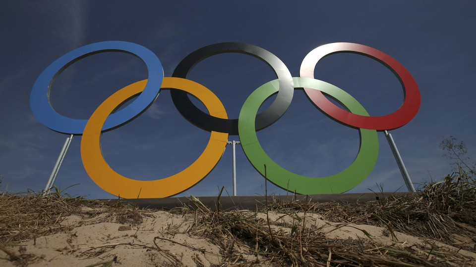 A general view of the Olympic rings outside the golf course.