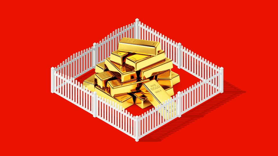 An illustration of gold bars surrounded by a white picket fence