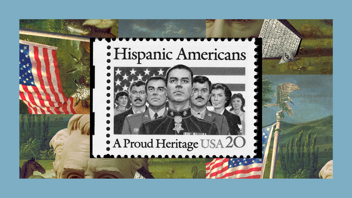 """A 20-cent postage stamp featuring an illustration of seven Hispanic Americans standing in front of an American flag. According to the National Postal Museum, """"The Hispanic Americans stamp design features a U.S. marine in full dress uniform with the Medal of Honor draped around his neck. He is flanked on both sides by two men and a woman in military dress, one man in civilian attire, and a young boy and girl. The United States flag appears in the background, signifying the Hispanic contributions to national defense."""