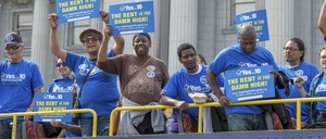 Supporters of Proposition 10 rally in San Francisco in October.