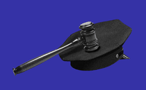 A graphic of a black gavel on top of a black police cap, on a blue background