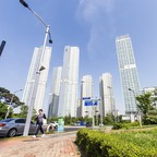 "A photo of high-rises in Songdo, billed as the world's ""smartest"" city."