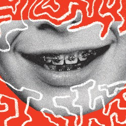 Illustration of smiling mouth with braces on red background surrounded by white squiggles