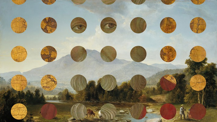 An illustration of a landscape with circles on top.
