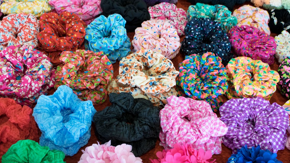 A pile of colorful scrunchies