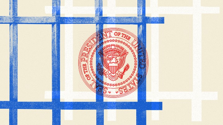An illustration of the U.S. presidential seal with bars surrounding it