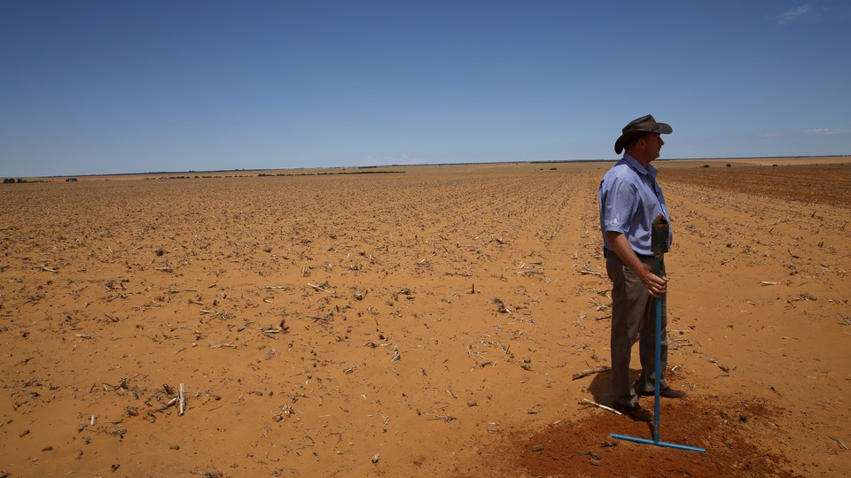 A farmer prepares to plant a maize field in Wesselsbron, in the Free State province of South Africa.