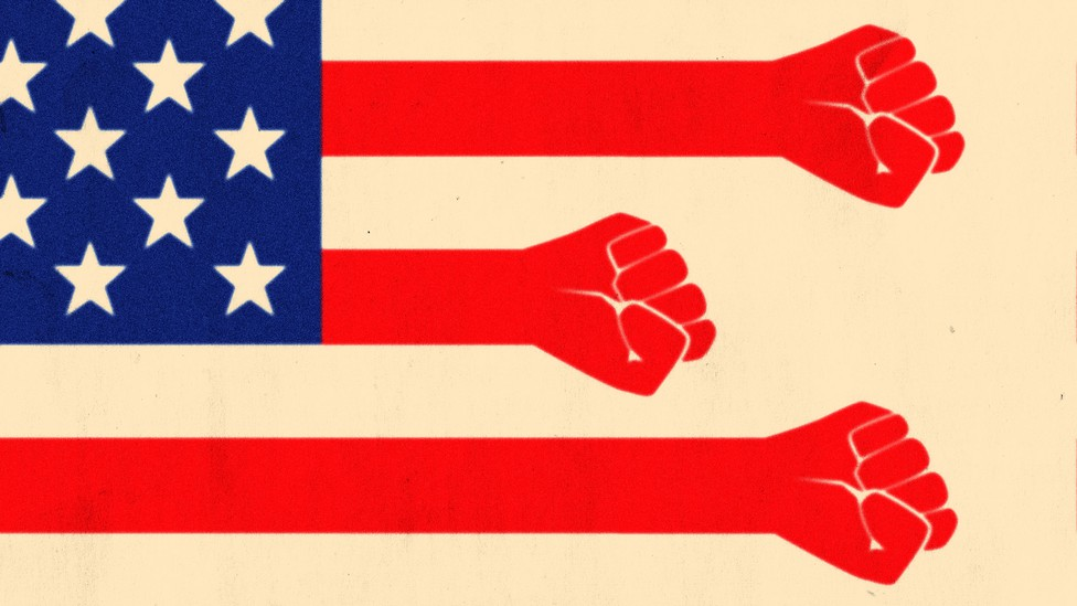 An American flag, but the red stripes are instead red arms and fists.