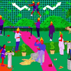 Several orange people lounge and play in a landscape littered with money. One individual sits on an oil drum spilling liquid gold; one sits in a Jacuzzi, holding a gold laptop; two others bump chests in the background between two stock-market arrows pointing upward.
