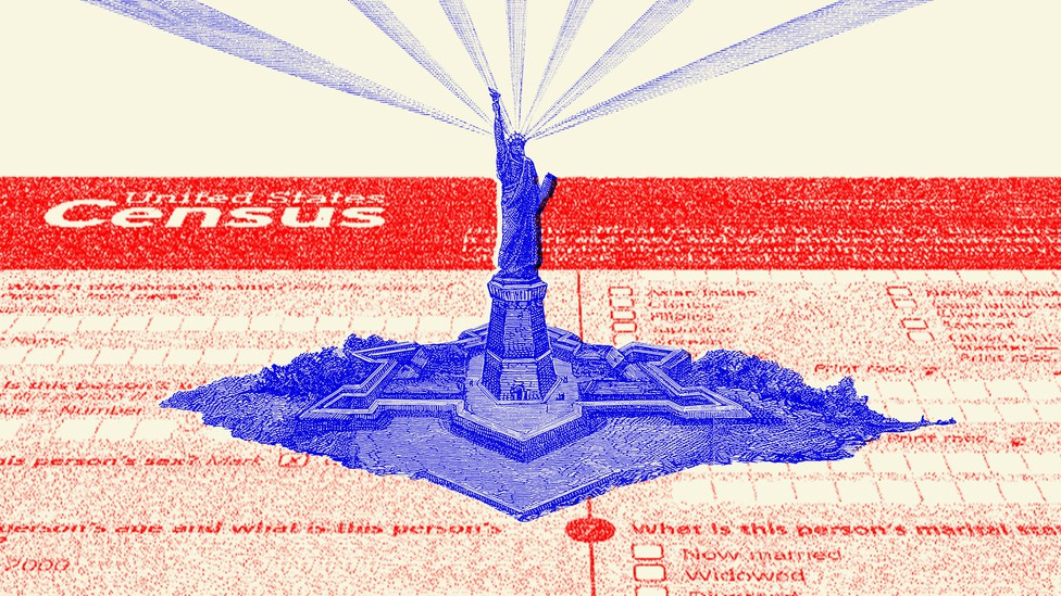 An illustration of the U.S. census and the Statue of Liberty