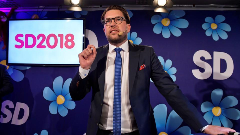 The Sweden Democrats party leader, Jimmie Åkesson