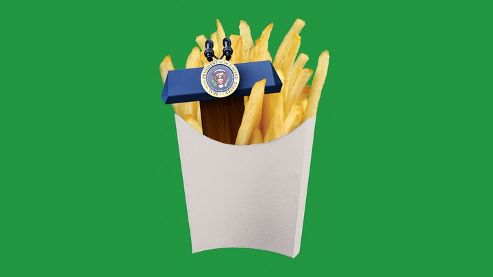 A presidential podium nestled in a carton of french fries.
