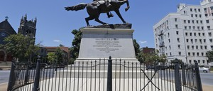 A photo of a statue of Confederate General J.E.B. Stuart on Monument Avenue in Richmond, Virginia.