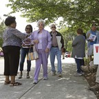 Voters and campaign volunteers at the Durham County Library, North Regional in Durham, North Carolina, 2018.