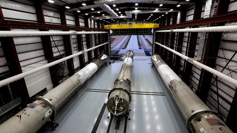 Falcon 9 rockets at the Kennedy Space Center in Cape Canaveral, Florida