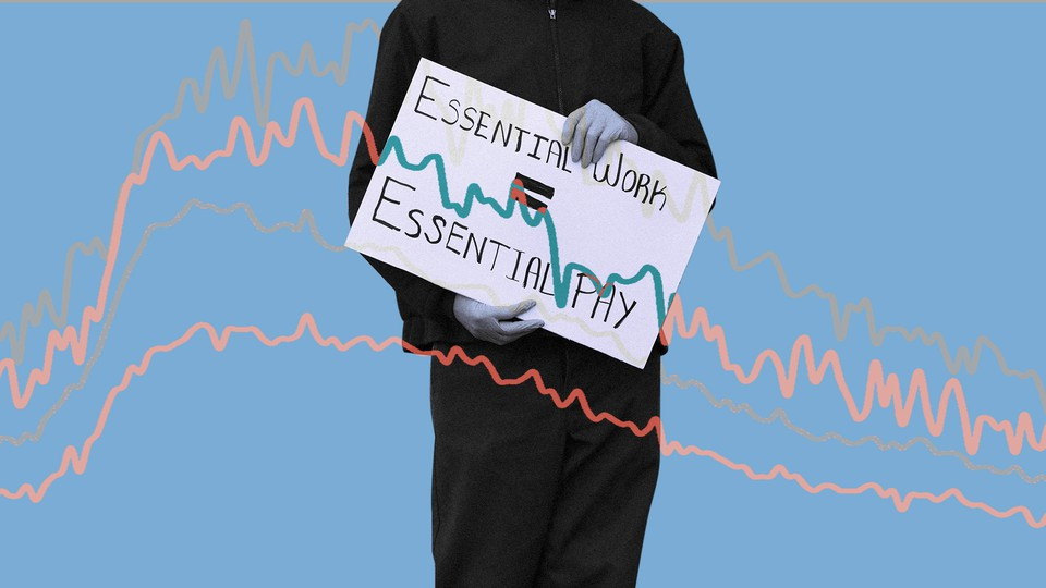 """An illustration of a person holding a sign that reads """"Essential work = essentiality"""""""