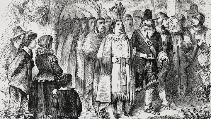 Massasoit, the Wampanoag Indian chief who maintained peaceful relations with the English in the area of Plymouth, Massachusetts, visits the Pilgrims.