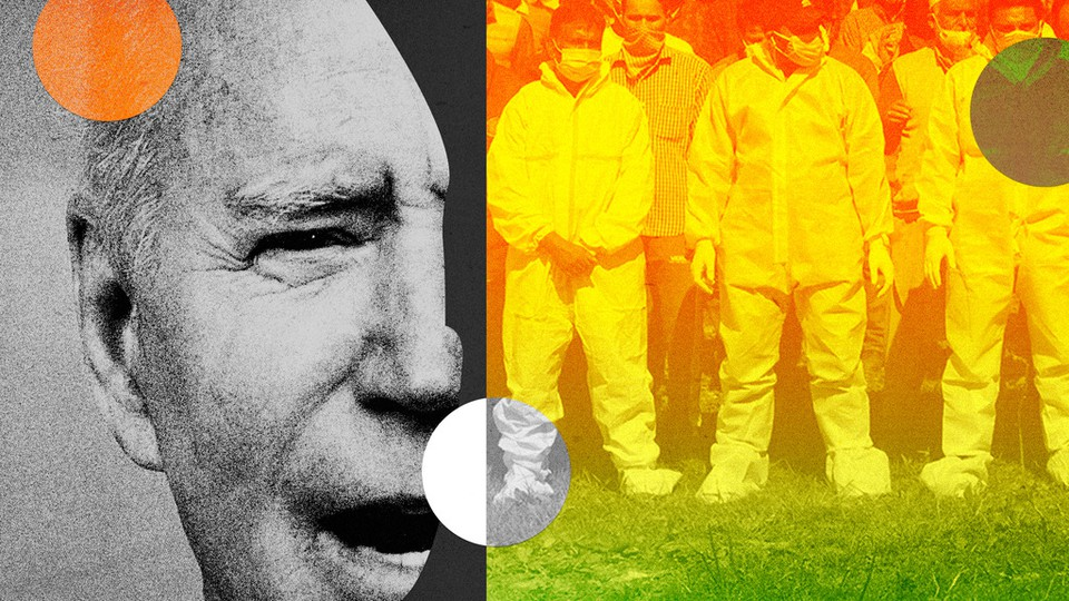 A collage of Joe Biden and pandemic response in India.