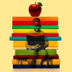 A photo of a young black student, reading a book, is overlaid on an image of a stack of books with an apple on top
