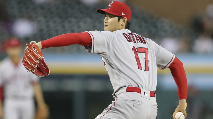 The Los Angeles Angels starting pitcher Shohei Ohtani throws during the fifth inning of a baseball game against the Detroit Tigers