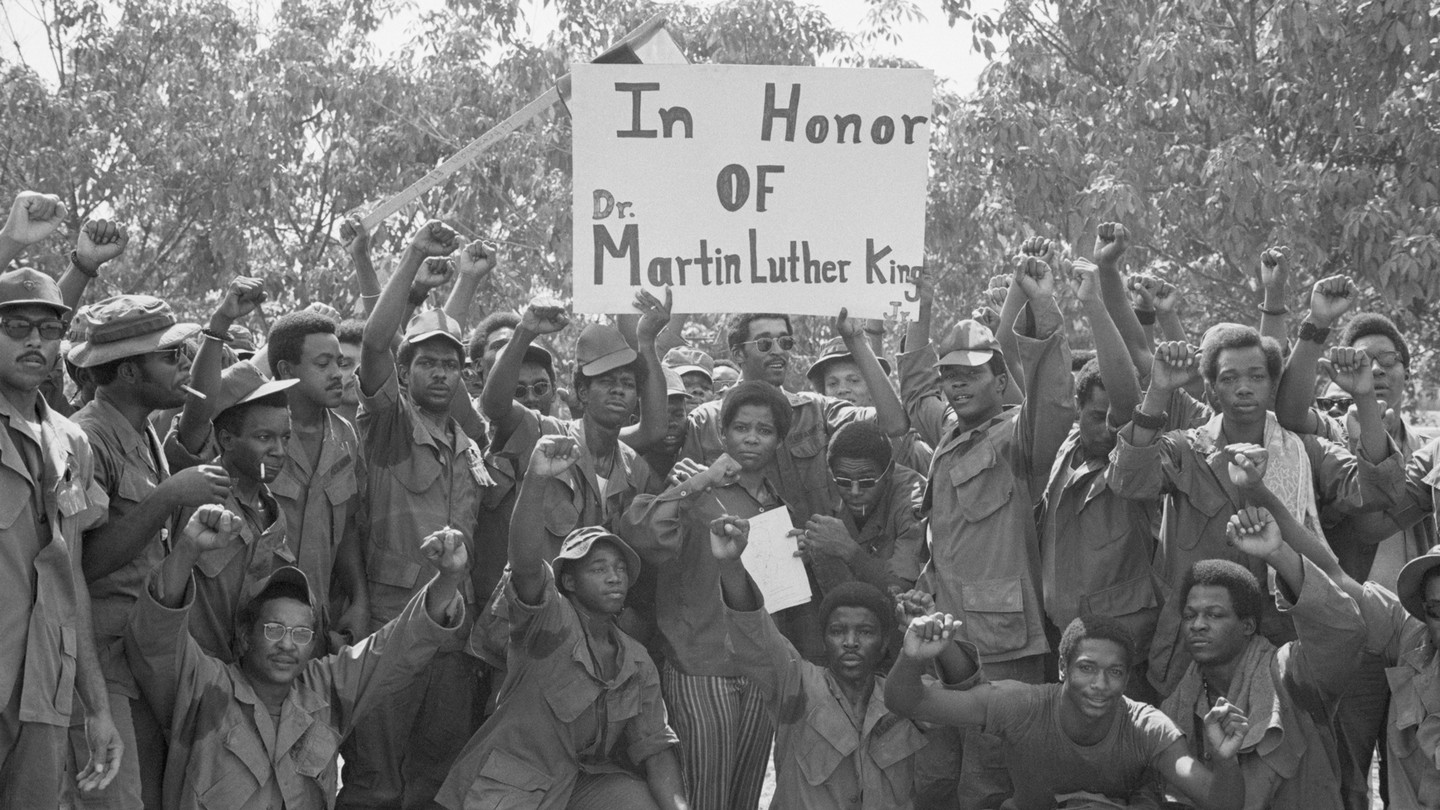American soldiers in Vietnam observe King's birthday, January 15, 1971