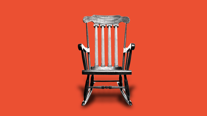 A chair on an orange background