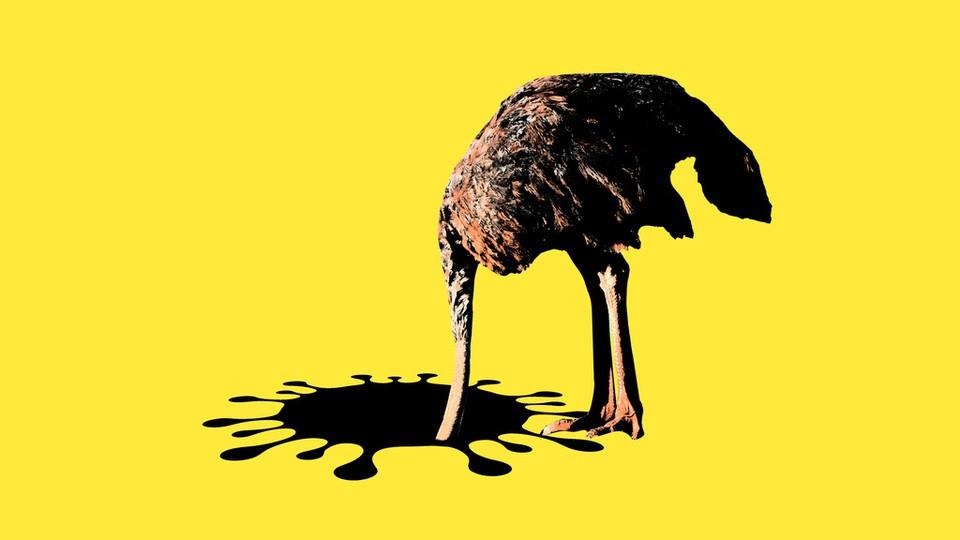 An ostrich sticking its head into a coronavirus-shaped hole